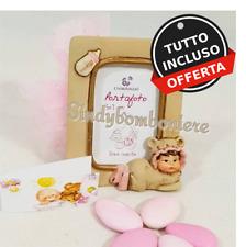 Detalle bautizo nacimiento infantil marco de fotos confeti rosa+tarjeta