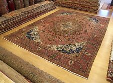 9.5 x 12.4 Hand Knotted Antique 1940s Persian Tabriz Rug _Vegetable Dye Wool