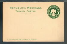 s1280 MEXICO PS Stationery PC Postal Card MEPSI PC107 Unused 1c Green Eagle 1900