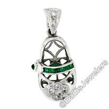 18K White Gold .36ct Emerald Diamond Engraved Fancy Baby Girl Shoe Charm Pendant