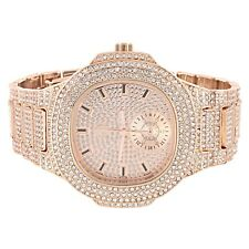 Mens Rose Gold Finish Wrist Watch Illusion Dial Simulated Diamonds Iced Out Band