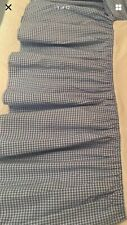 "Pottery Barn Kids Twin Bedskirt Dust Ruffle Blue & White Gingham Check 14"" Drop"
