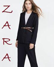 Zara Women's Blazer, Navy Blue Piqué Soft Long Cardigan, Patch Pockets Size M/L