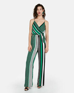NEW EXPRESS GREEN STRIPED SURPLICE TIE FRONT WIDE LEG JUMPSUIT SZ S SMALL