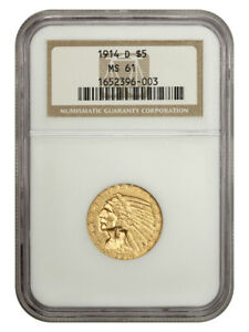 1914-D $5 NGC MS61 - Indian Half Eagle - Gold Coin