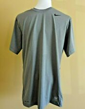 NWT Nike Pro Combat Fitted Dry-Fit Gray Short Sleeve Activewear Shirt in size L
