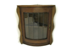 Corner Cabinet Beveled  Glass Door Display China Carved Wood Gorgeous Vintage