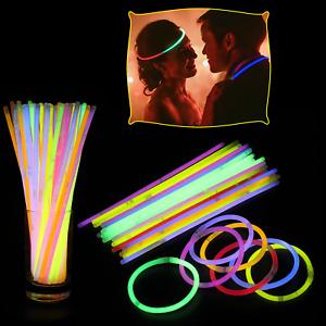 15/25/50/100/200/300 Glow Sticks Party Pack + Connectors Bracelets Night Disco