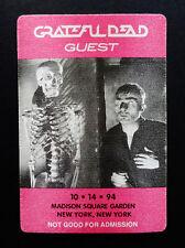 Grateful Dead Backstage Pass MSG New York 10/14/1994 NYC NY Skeleton Movie Film