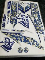 3D/EMBOSSED SPARTAN BLUE CAMU EDITION CRICKET BAT STICKER +1 2D STICKER FREE