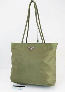 Authentic PRADA Green Nylon Tote Hand Bag Purse #40898