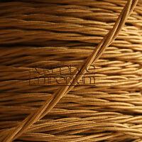 Braided Cloth Twisted Wire Flex Art Deco Emporium Brand 3Core 3A in Antique Gold