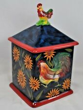 "Susan Winget Canister~Rooster Sunflower ""Sunrise"" Pattern~Medium 1 of 4~9 1/2"""