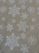 FQ Hessian Natural Linen Fabric With White Snowflakes Craft Sew Quilt Christmas
