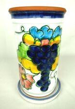 Vintage Pottery Wine Cooler Utensil Holder Hand Painted Signed Celina Portugal
