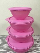 Tupperware Wonderlier Bowls Set Of Four Pink 10, 7, 5, 2 Cups New