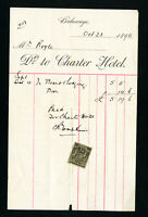 Rhodesia 1895 Charter Hotel Revenue Stamp on Bill
