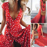 Boho Womens Summer Holiday Polka Dot Maxi Dress V-neck Long Shirt Beach Dresses