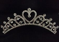 Stylish Diamante Crystal Heart Crown Tiara Hair Comb Silver 016
