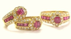 18Kt Gem Ruby Diamond Earrings + Ring Yellow Gold 3.20CT