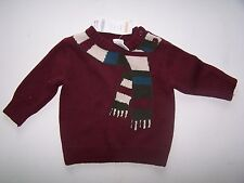 NWT GYMBOREE MAROON SCARF WINTER PULL OVER SWEATER INFANT 6-12 MO Free Shipping