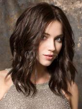 Sexy Women Beautiful Medium Dark Brown Natural Wavy Hair Cosplay Daily Full Wigs