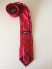 Croft & Barrow Mens Tie Red Striped Geometric Pattern 100% Silk Necktie