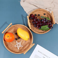 Rattan Storage Tray Round Basket with Handle Wicker Bread Fruit Food BasketBDAU