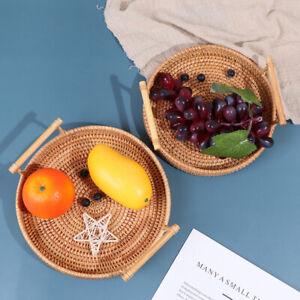 Rattan Storage Tray Round Basket with Handle Wicker Bread Fruit Food BasketB*AU