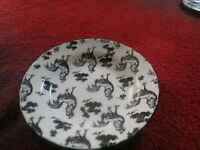 (2) Aux Au Provence Black & White Rooster Transfer Ware Cereal/Soup Bowls