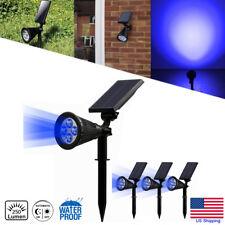 4 Pack Solar Power Spotlight 4-LED Blue Garden Path Landscape Outdoor Lamp US
