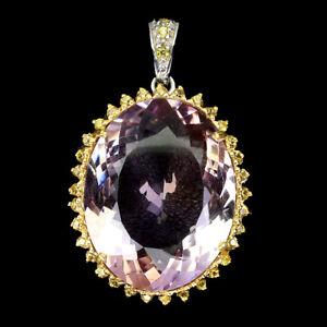 Handmade Oval Ametrine 27ct Sapphire Diamond Cut 925 Sterling Silver Pendant
