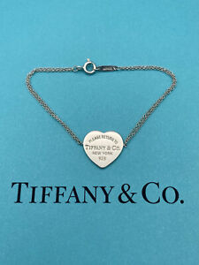 """Tiffany & Co Sterling Silver Return To T Double Chain Heart Tag Bracelet 6.25"""""""