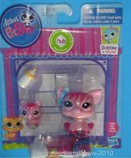 Littlest Pet Shop LPS Bobble Mommy & Baby Pink Pig Set #3595 & #3596 New