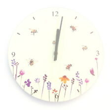 Bumble Bees & Flowers Round Glass Wall Clock