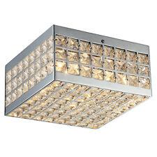 Modern 4 Light Crystal Flush Mount Chandelier Square Shade Lamp Ceiling Lighting