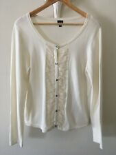 Lovely Ivory Cotton Mix   Cardigan with Chiffon & Button Feature Size Large NEW