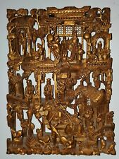 Chinese Antique Carved Wood Carving Panel w Gold Gilt Temple Scene ChaoZhou