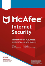 McAfee Internet Security 2018 Anti Virus Software 1 Year Licence 1 User / PC NEW