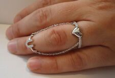 LUCKY HORSE SHOE & HEART SLAVE RING  W/ DIAMONDS/925 STERLING SILVER/SZ 5 TO 9