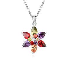 18K Gold GP Made With Swarovski Crystal Elements Multi Color Flower necklace