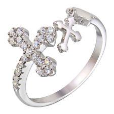 OPEN DANGLING CROSS & CROSS RING W/ LAB DIAMONDS /SZ 5 - 9 /925 STERLING SILVER