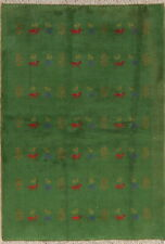 Tribal Nomad Green Gabbeh Oriental Area Rug Wool Hand-Knotted Home Decor 4'x6'