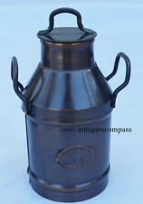 """BRASS MILK CREAM CAN W LID """"VIPAN AND HEADLEY ENGLAND"""" ANTIQUE FINISH MILK CANE"""