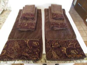 Decorative Bath Towels Set Of 6 Brown W/ Paisley Embellishment 100% Cotton