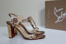 New sz 9.5 / 40 Christian Louboutin Kaleitop Gold Spike Stud T-Strap Sandal Shoe