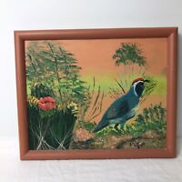 "Male Gambel Quail Painting Signed Artist M Feil Framed Bird Art 10"" Horizontal"