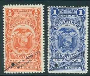 Ecuador circa 1910, two Consular fiscal or revenues, WATERLOW SPECIMEN ovpt.