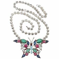 """Schreiner Necklace Brooch Pin VTG LARGE 4.25"""" Butterfly Convertible Insect"""