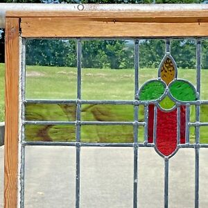 """Vintage Stained Glass Window with Wooden Frame 30"""" x 21"""" Ready to Hang"""